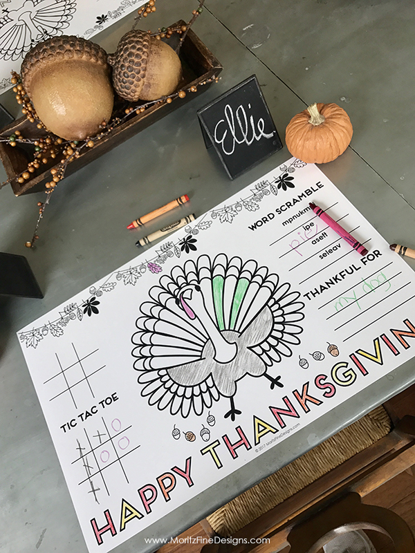 Thanksgiving Placemat for Kids @ Moritz Fine Designs