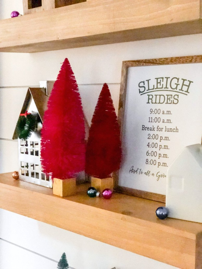 Holiday Kitchen Shelves. Create a modern farmhouse kitchen nook with an upholstered bench and floating wood shelves, decorated for the holidays!
