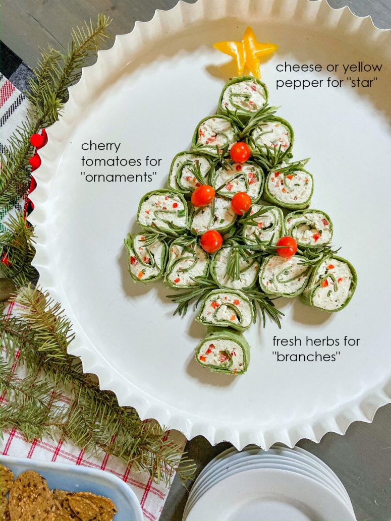 Christmas Party Pinwheel Tree Appetizer. Tis the season for easy appetizers! Whip up these cream cheese and veggie pinwheels, arrange on a platter and garnish with fresh herbs. Then pop them in the fridge until the party starts.