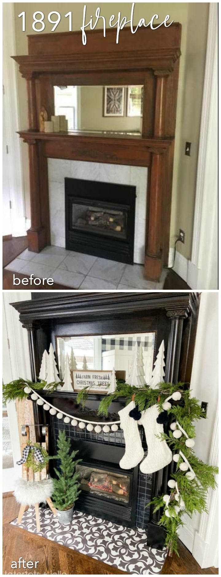 1891 vintage fireplace makeover before and after restoration for less than $200.