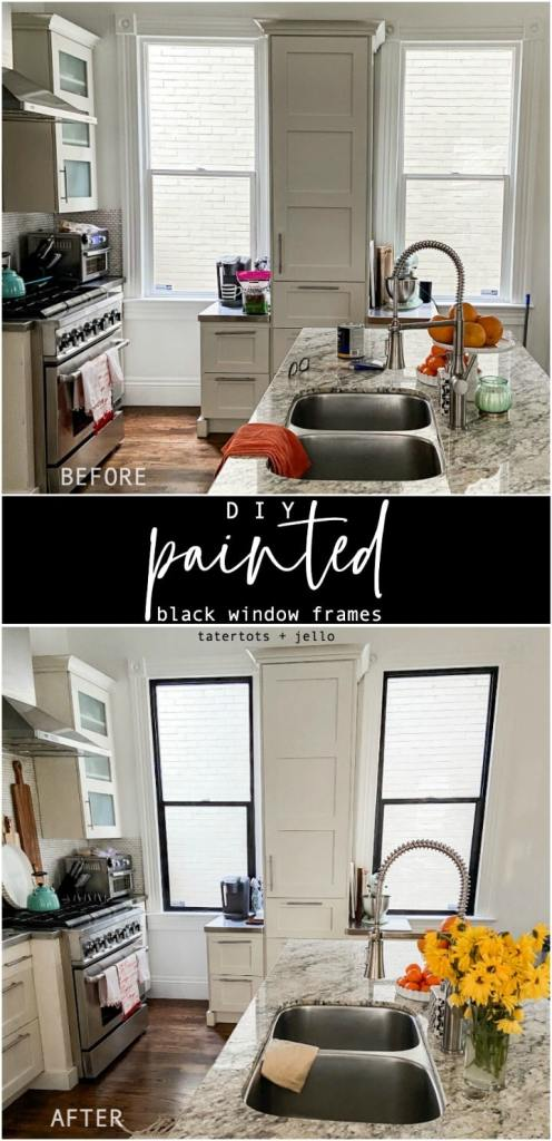 DIY Black Painted Window Frames. Get the high-end, modern look of black windows by painting the frames for a fraction of the cost of new windows.