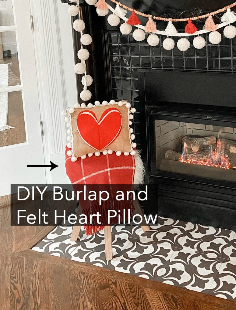 DIY Felt and Burlap Pillow tutorial for Valentine's Day.