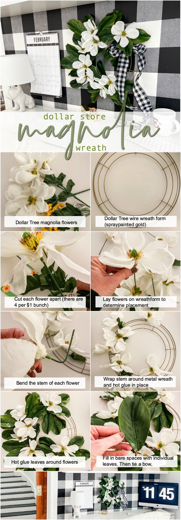 Dollar Store Magnolia Farmhouse Wreath. Make a gorgeous farmhouse-style wreath for a few dollars with items from the dollar store!