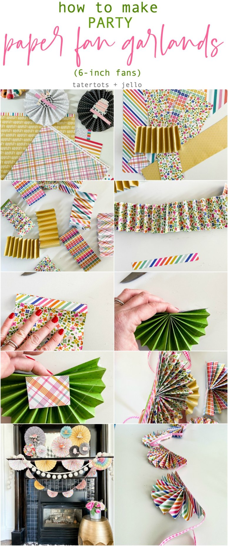 DIY Paper Fan Birthday Garlands. Create a two sizes of birthday garlands in minutes using your favorite scrapbook paper.