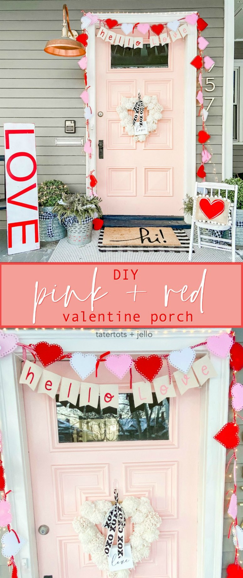 Pink and Red Valentine's Porch. Make a DIY garland, sign, banner, pillow and wreath to create a bright and colorful porch for Valentine's Day!
