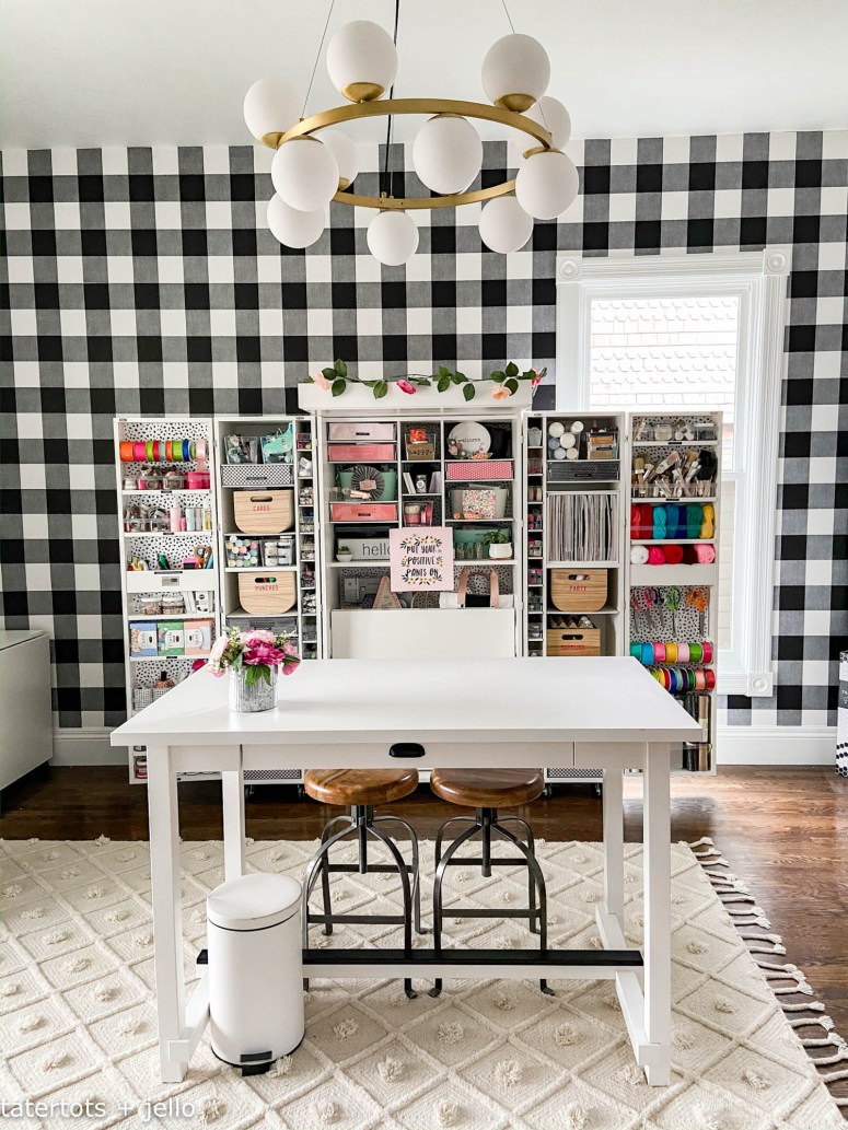 black and white craft room remodel