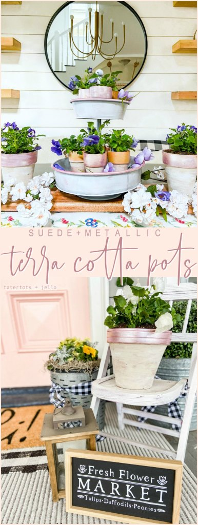 Suede and Metallic Terra Cotta Pots Tutorial