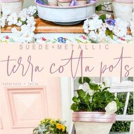 Suede and Metallic Terra Cotta Pots Tutorial
