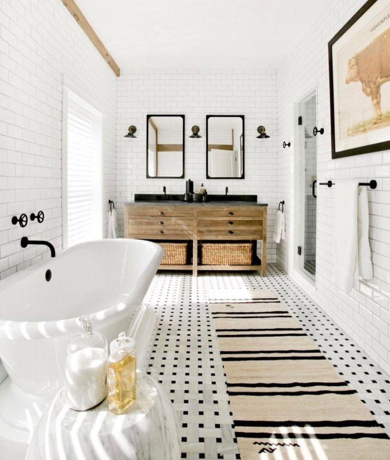 black and white modern bathroom tile ideas.