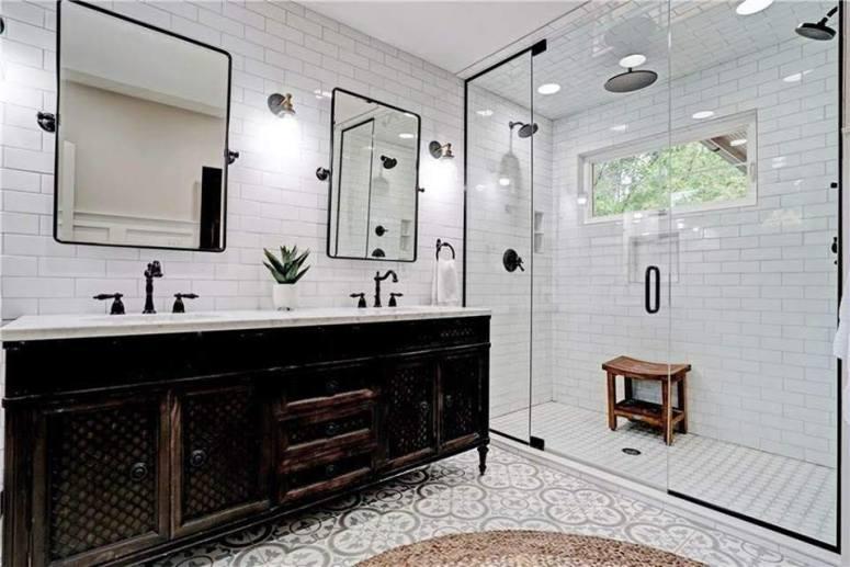 20 Modern Farmhouse and Cottage Bathroom Tile Ideas on Farmhouse Bathroom Tile  id=60507