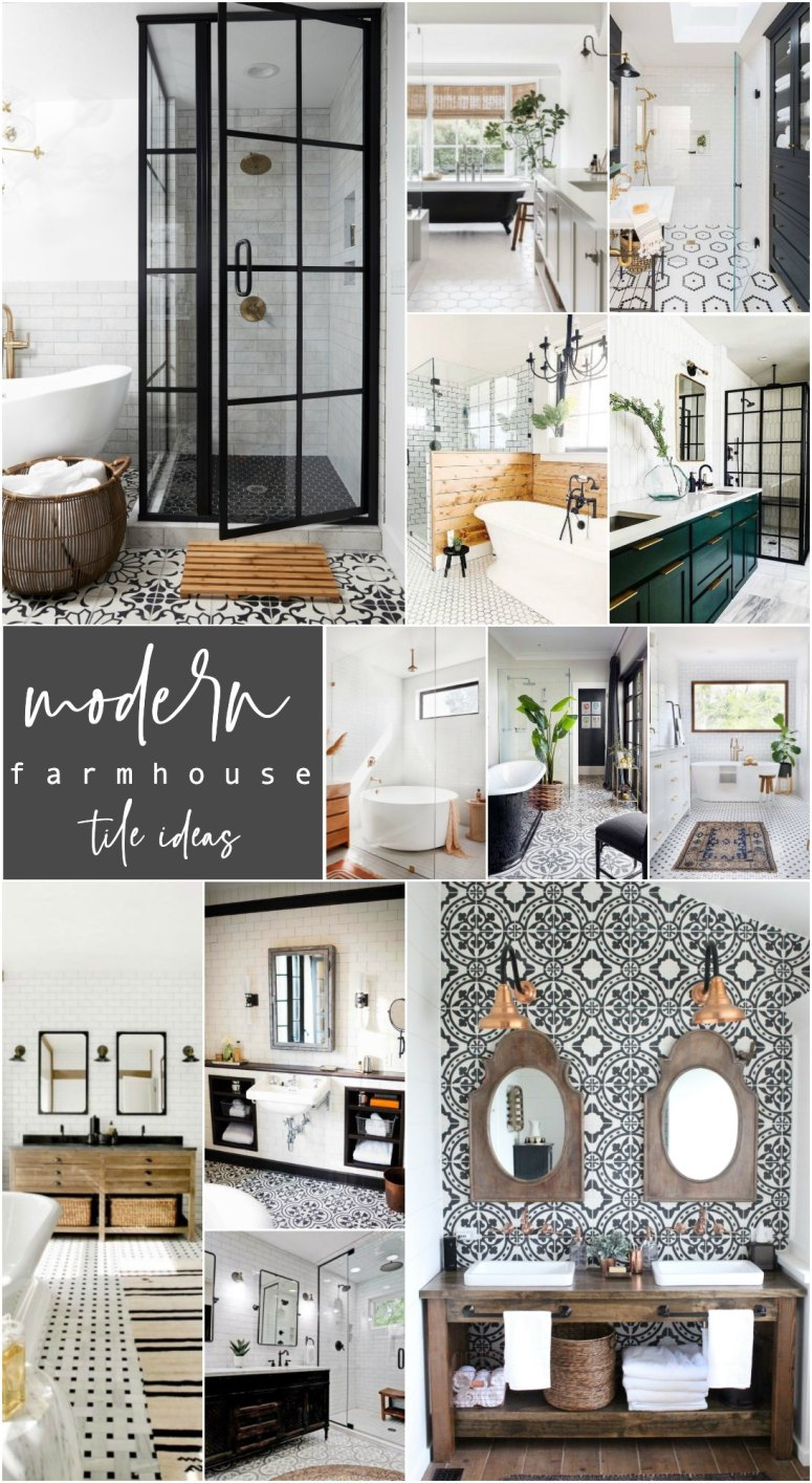 Modern Farmhouse and Cottage Bathroom Tile Ideas