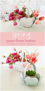 Paper Flower Gift Baskets for Spring or Easter