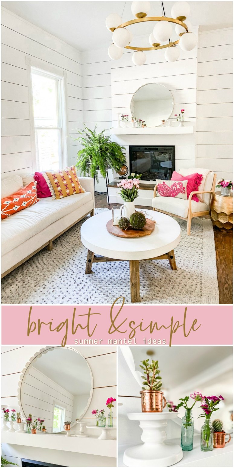 How to create a Bright and Simple Summer Mantel. Use what you have to create a fresh summer makeover for your mantel or shelf.