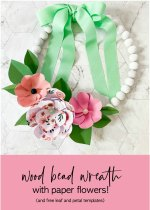 Make a Wood Bead Wreath with Paper Flowers