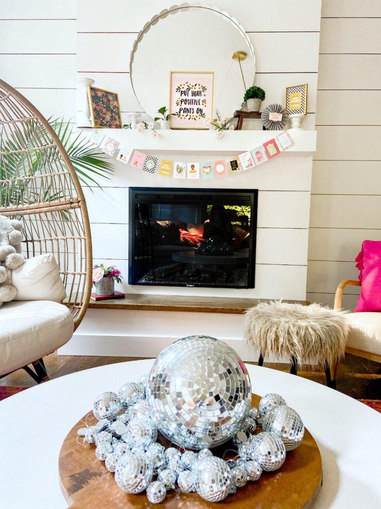 Boho Cottage Disco Ball Summer Coffee Table Centerpiece