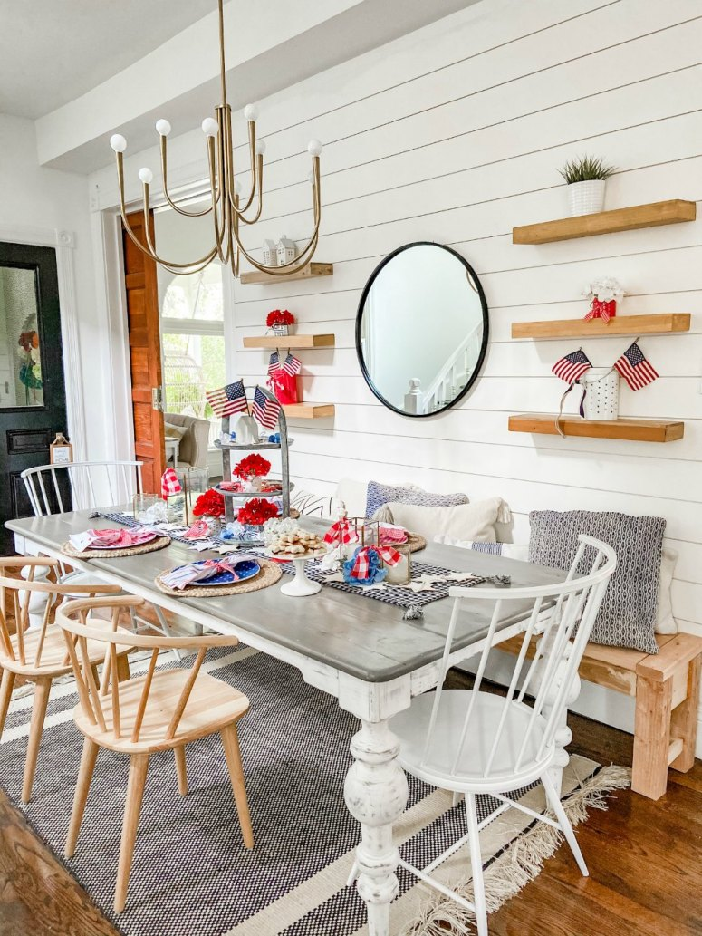ive Ways to Create an Easy Fourth of July Table. Create a festive red white and blue table using dollar items.