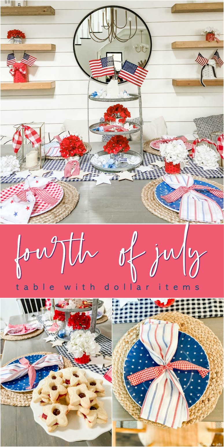 Five Ways to Create an Easy Fourth of July Table. Create a festive red white and blue table using dollar items.