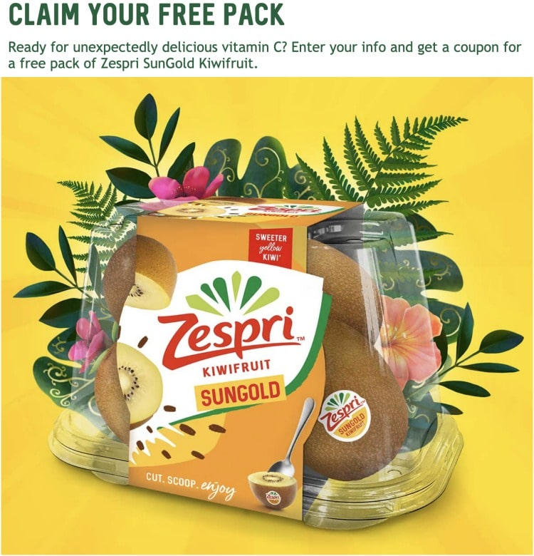 Get a FREE pack of Zespri SunGold Kiwiruit to try!!