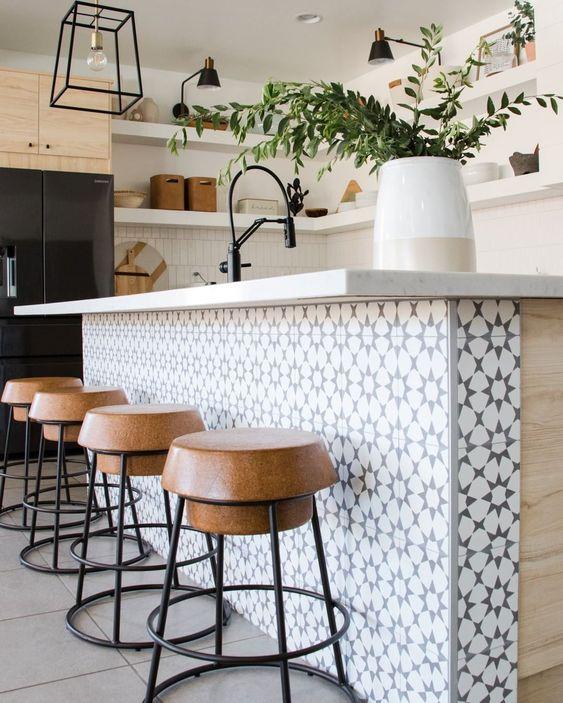 Kitchen island tile at Blue Copper Design.