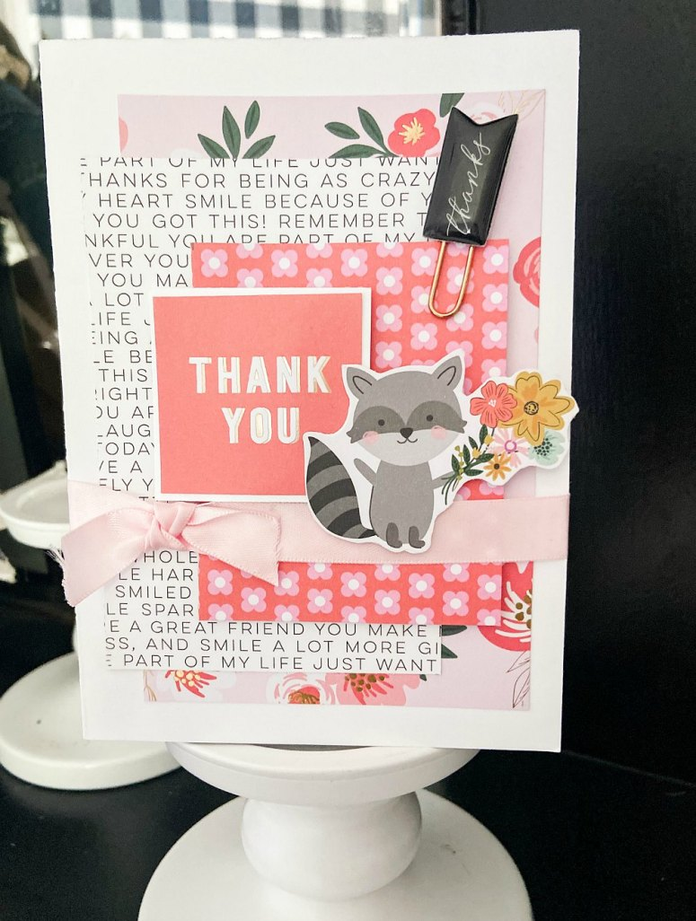 Racoon thank you card with full instructions.