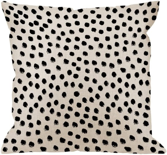Dot linen pillow cover for under $10 is an easy way to try out the animal print trend for fall.
