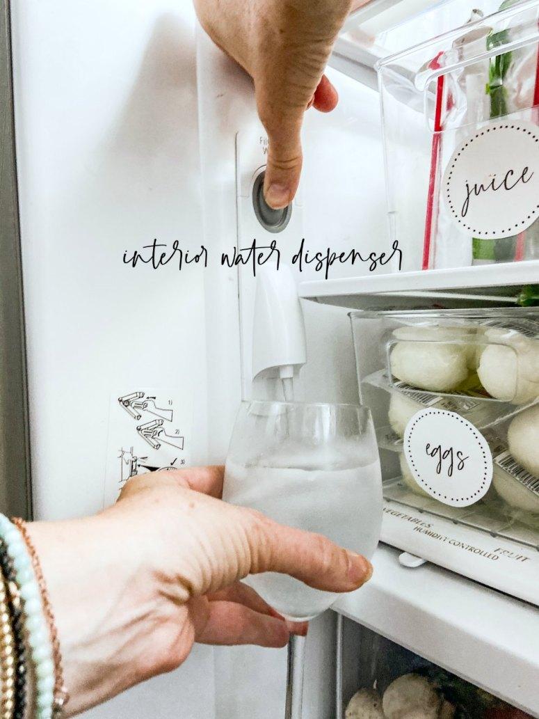 INterior water dispenser leaves the outside of the fridge seamless