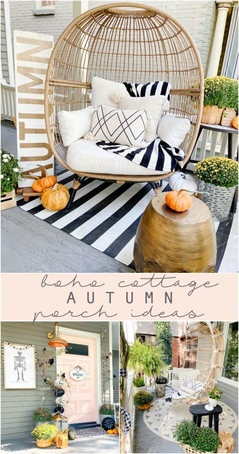 Idées de porche d'automne Boho Cottage.  Utilisez des meubles en rotin, des fleurs en pot, des citrouilles et des oreillers confortables pour créer un porche d'automne chaleureux et accueillant.