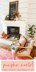 Natural Fall Pumpkin Mantel with DIY Chalkboard Art