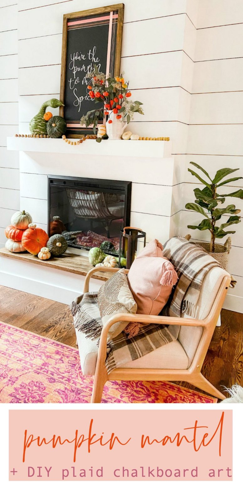 Natural Fall Pumpkin Mantel with DIY Plaid Chalkboard Art. Display the beauty with natural pumpkins and add a fall saying with a DIY Plaid Chalkboard.