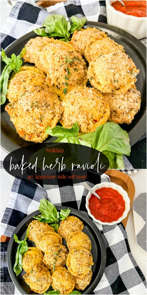 Holiday Herb Cheese Baked Ravioli Appetizer
