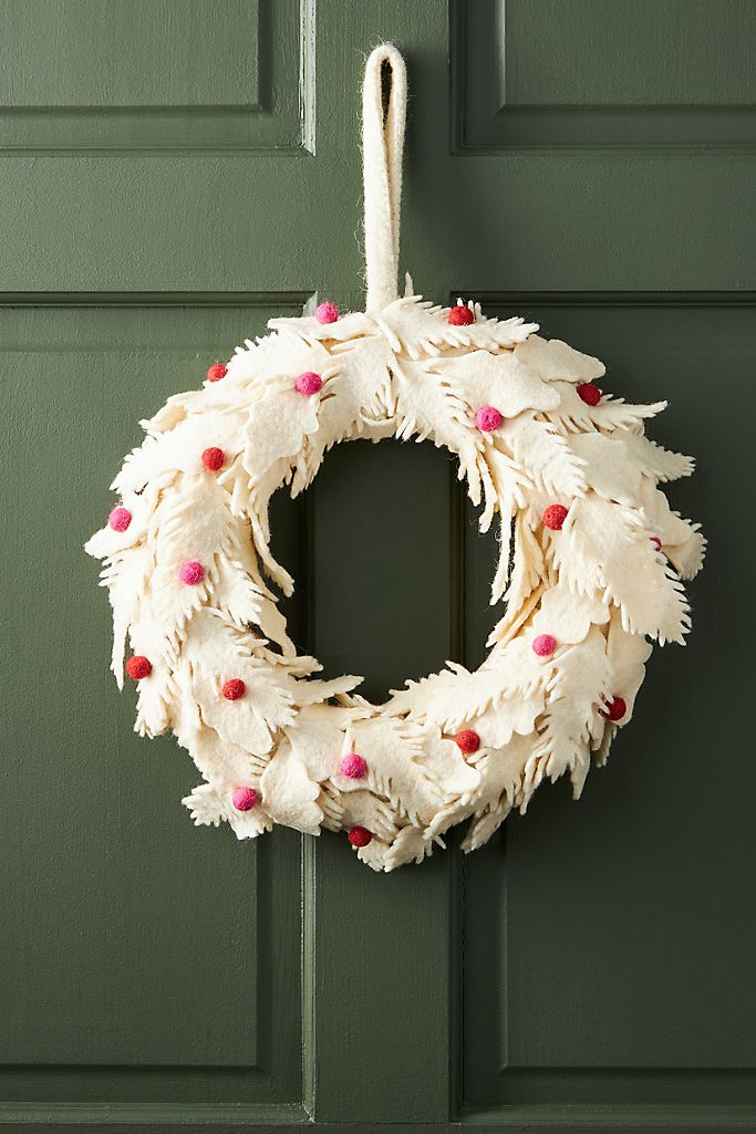 Anthropologie Felt Flower Holiday Wreath