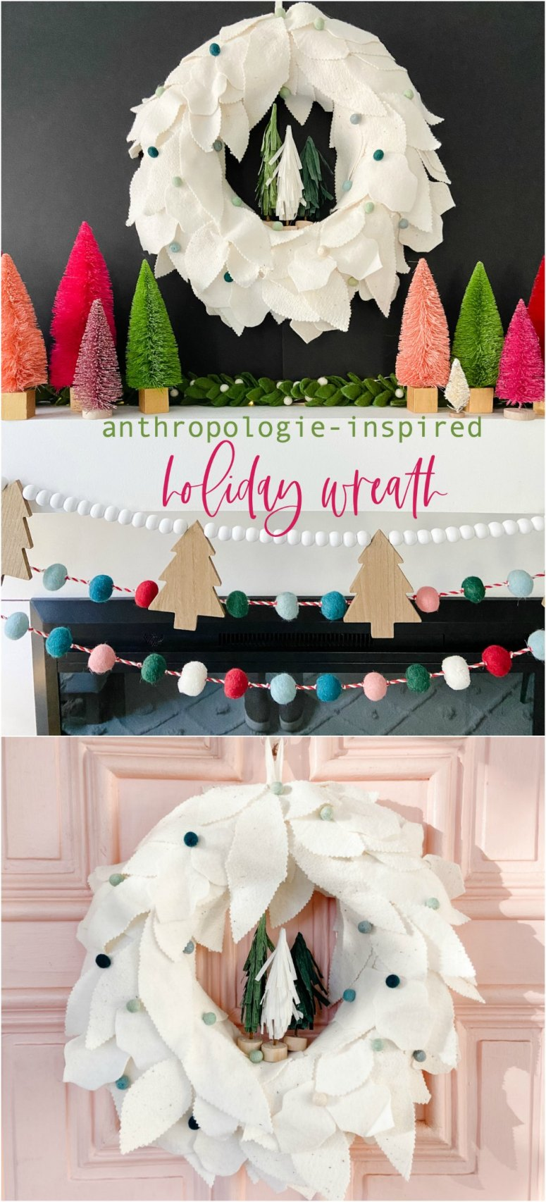 Anthropologie-inspired felt holiday leaf wreath