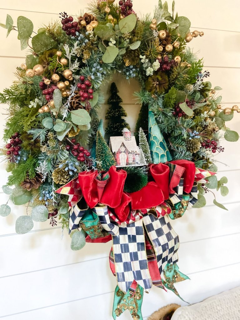 mackenzie-childs holiday wreath dining room
