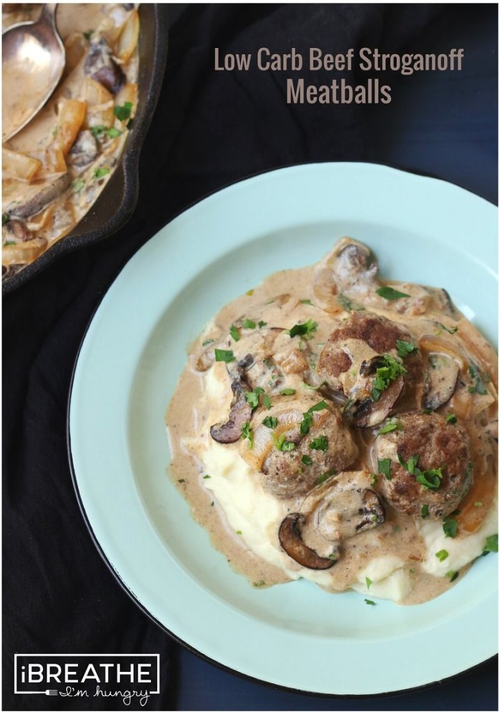 Low Carb Beef Stroganoff Meatballs at I Breathe I'm Hungry