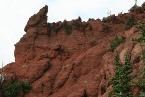 The red of this rock stands out for miles around, and one can see why it was named Devils Horn