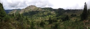 Panoramic shot of the Heart Lake Basin, our first camp