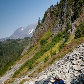 The trail switch backs downhill below Cathedral Crag, to reach Mazama Park