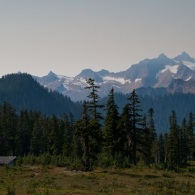 Last good pictures we would get of distant Twin Sisters range, the Mazama Park shelter visible in the meadows.