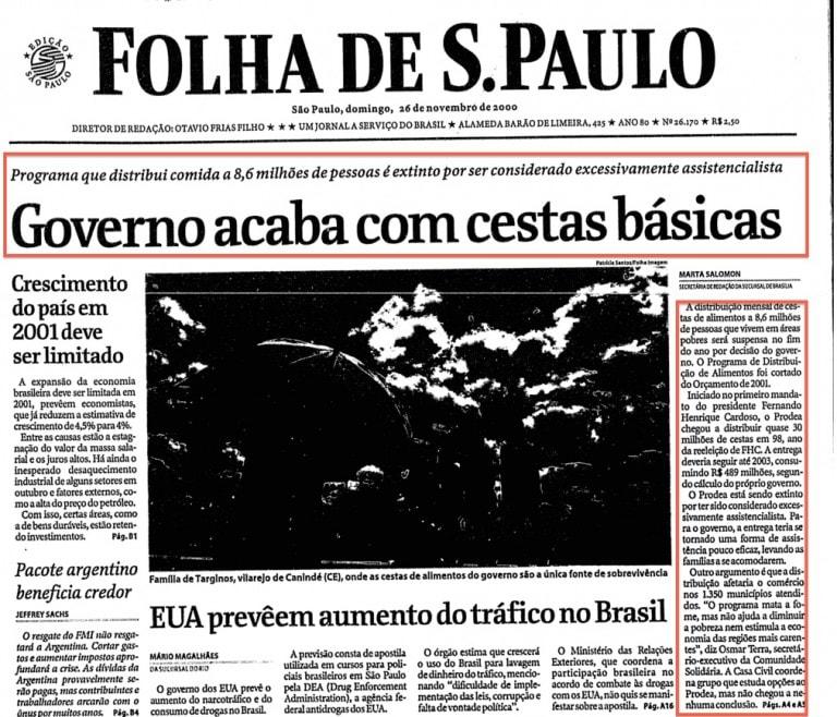 Governo acaba com cestas básicas (26/novembro/2000)