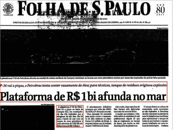 Plataforma de R$ 1 bi afunda no mar (21/março/2001)