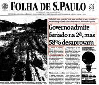 Governo admite feriado na 2ª, mas 58% desaprovam (03/julho/2001)