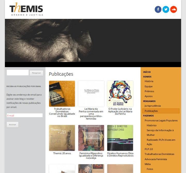 Página de publicações