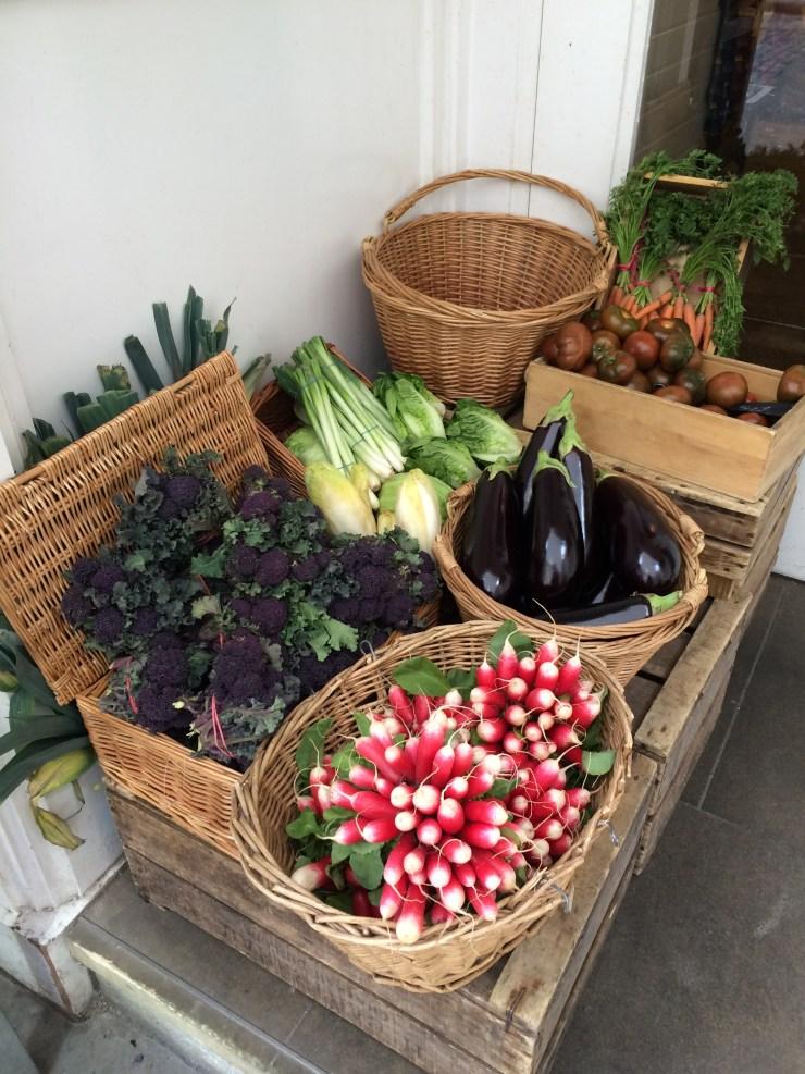 Amazign colours of radishes, aubergines, purple broccoli