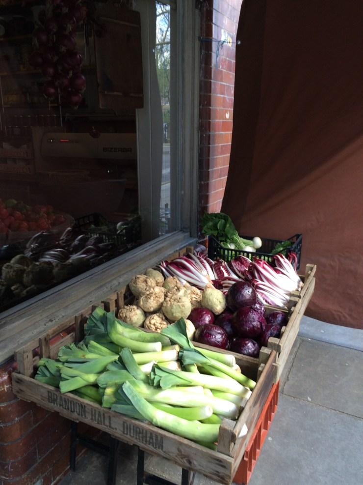 Gorgeous veggies outside the store