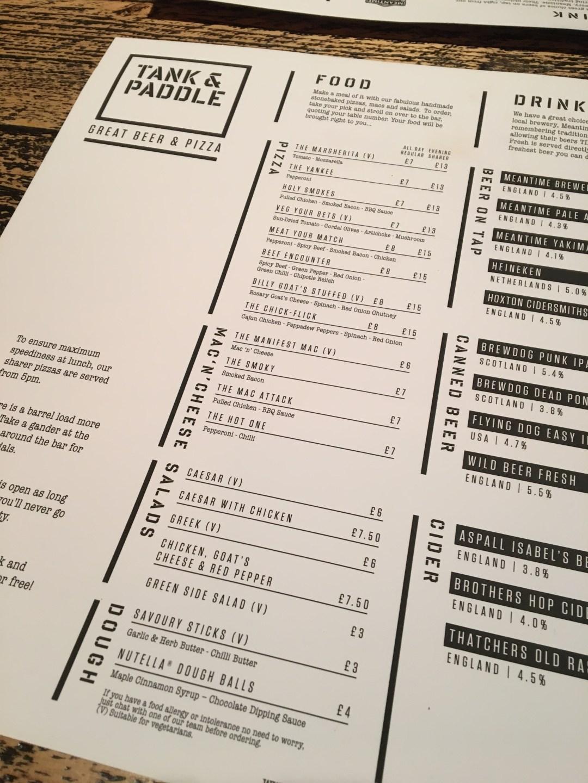 Tank & Paddle menu