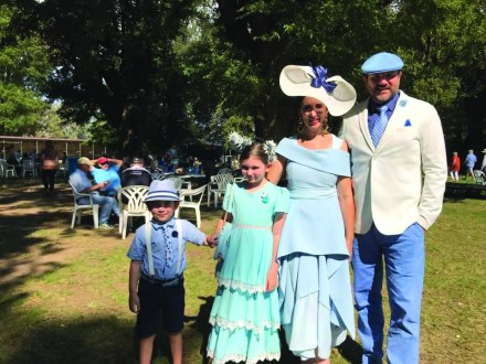 Oliver and Emilie Dhu, Sally Martin and Trevor Dhu made their way from Canberra to participate in the Tumut Turf Club's Fashions on the Fields.