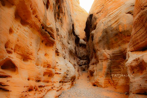 narrow trail of the slot canyon in the Valley of Fire