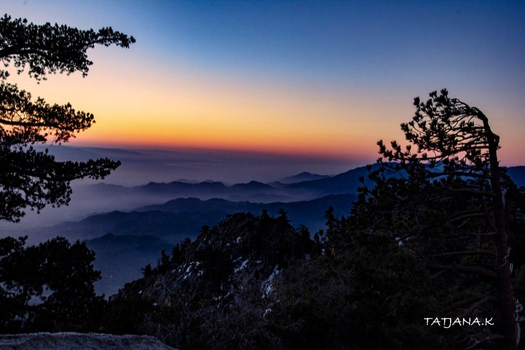sunrise from Mt San Jacinto overlooking Coachella Valley