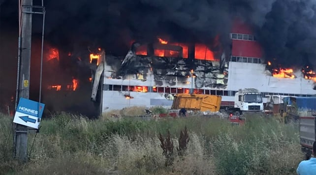Factory fire in Kocaeli province of Turkey