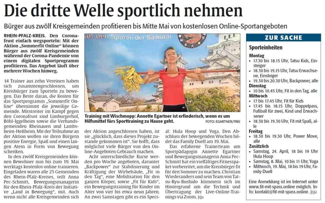 Die Rheinpfalz – Die dritte Welle sportlich nehmen